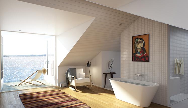 Nytt bostadsområde vid havet nära Stockholm, av Rex Arkitektbyrå.