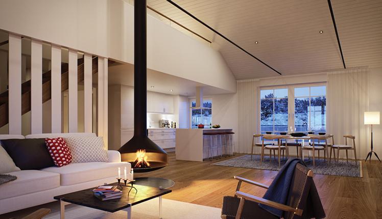 Vardagsrum i en ny bostad vid havet nära Stockholm, av Rex Arkitektbyrå