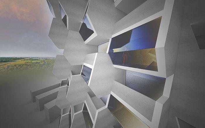 Detalj i skissprojekt inför detaljplan av en hög byggnad, ritat av Rex Arkitektbyrå