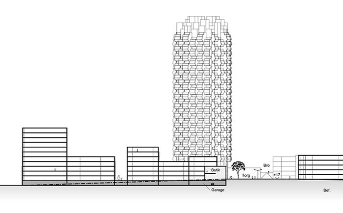 Ritningar på ett skissprojekt inför detaljplan, ritat av Rex Arkitektbyrå