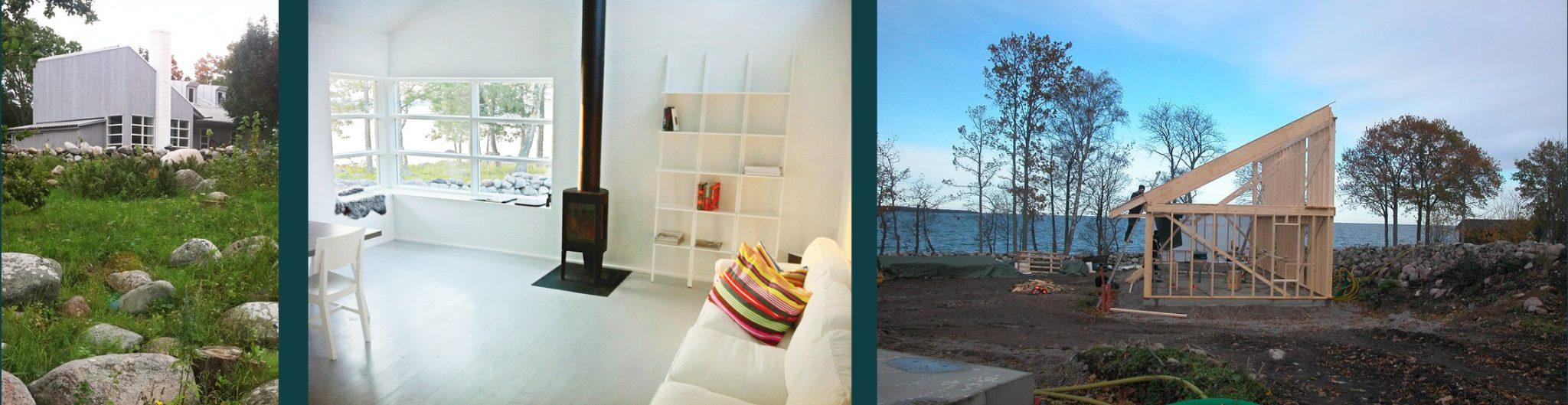 Exteriöra och interiör bild på sommarstället Villa Udde byggt i trä, ritat av Rex Arkitektbyrå