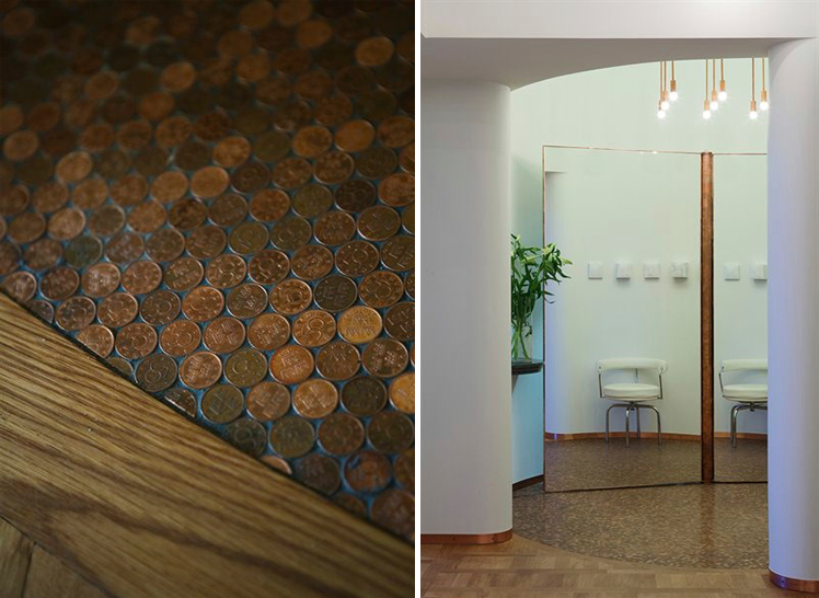 Entré med specialdesignat golv i Lägenhet Vinblad där Rex anlitades inför en omfattande renovering