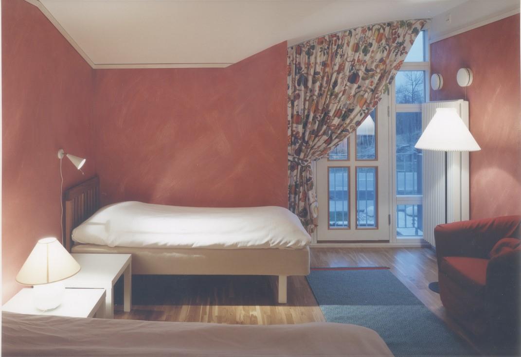 Sovrum inne i Ronald McDonald hus ritat av Rex Arkitektbyrå