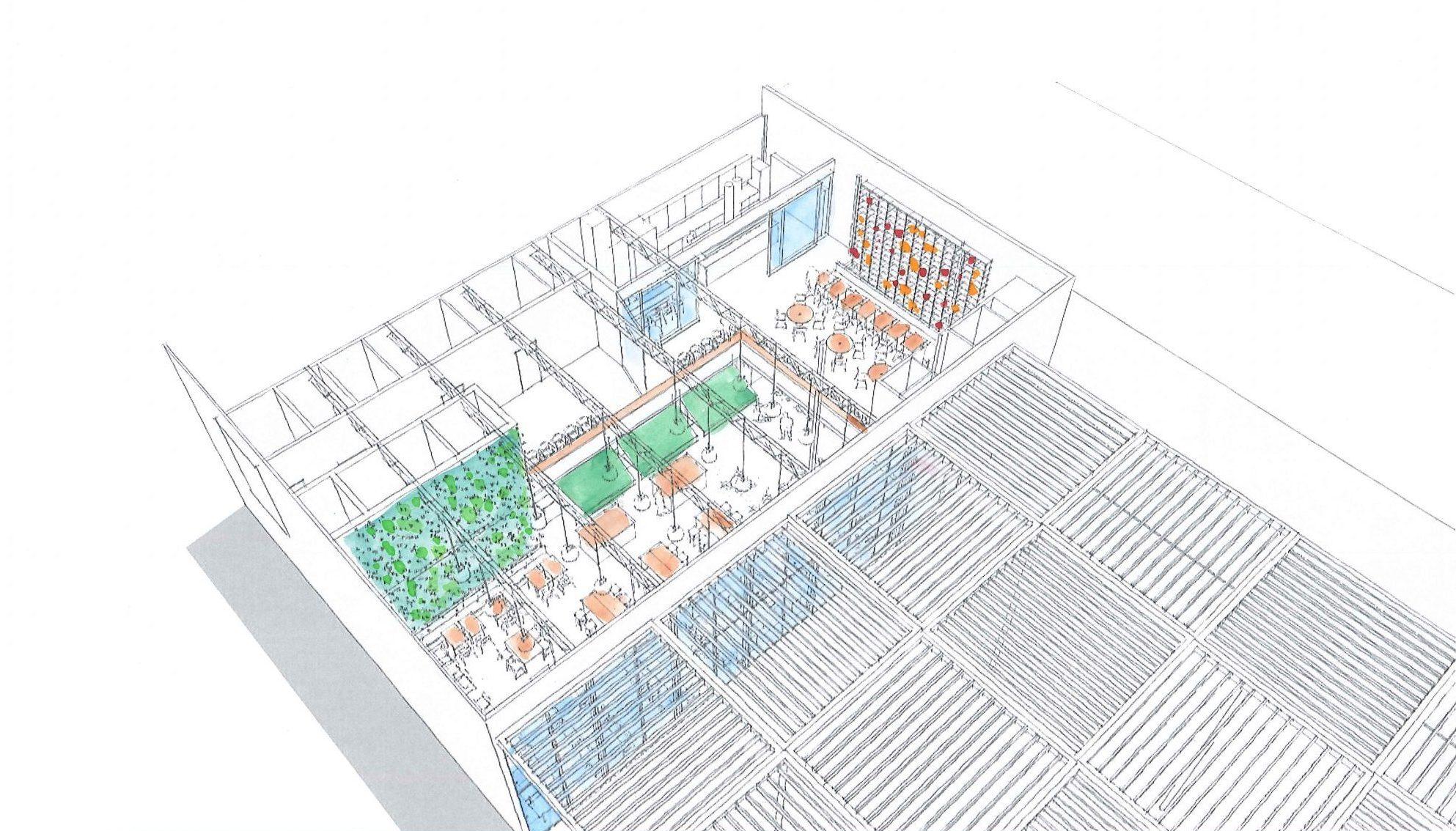 Ombyggnadsförslag för restaurangen i IKEA Museum, Älmhult, ritat av Rex Arkitektbyrå.