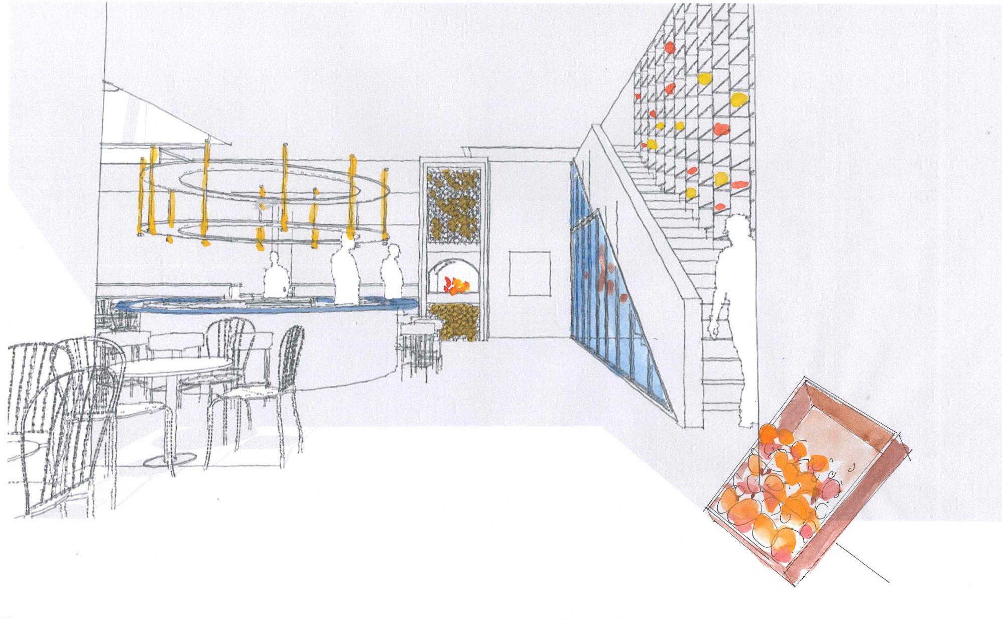 Perspektivskiss för restaurangen i IKEA Museum, Älmhult. Ombyggnadsförslag av Rex Arkitektbyrå.