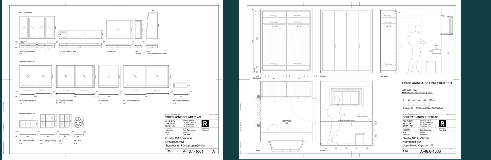 Rex Arkitektbyrå etapper i projekt. Tredje etappen är förfrågningsunderlag.