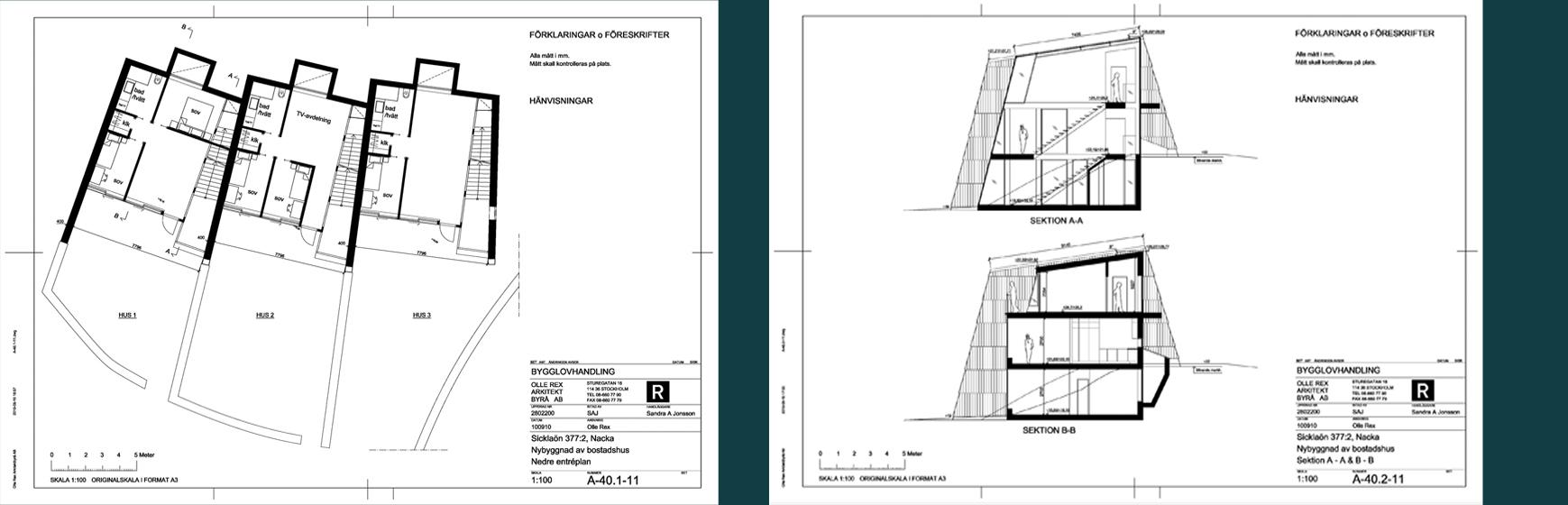 Rex Arkitektbyrå etapper i projekt. Andra etappen är bygglov