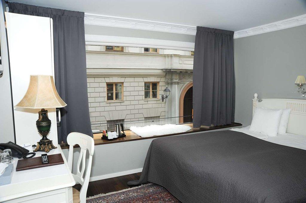 Hotellrum i Best Western Hotel Bentleys i Stockholm ritat av Rex Arkitektbyrå.