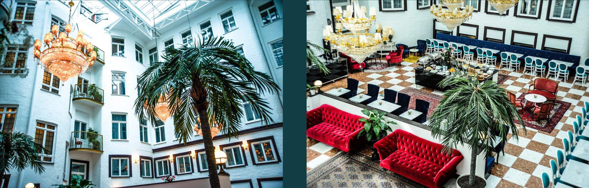 Inglasad innergård i Best Western Hotel Bentleys i Stockholm ritat av Rex Arkitektbyrå